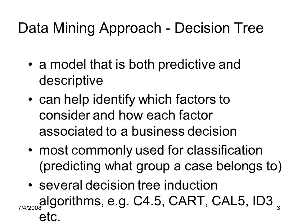 Data Mining Approach - Decision Tree