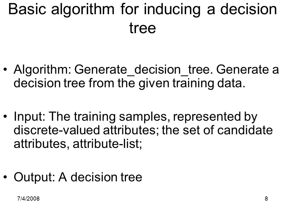 Basic algorithm for inducing a decision tree