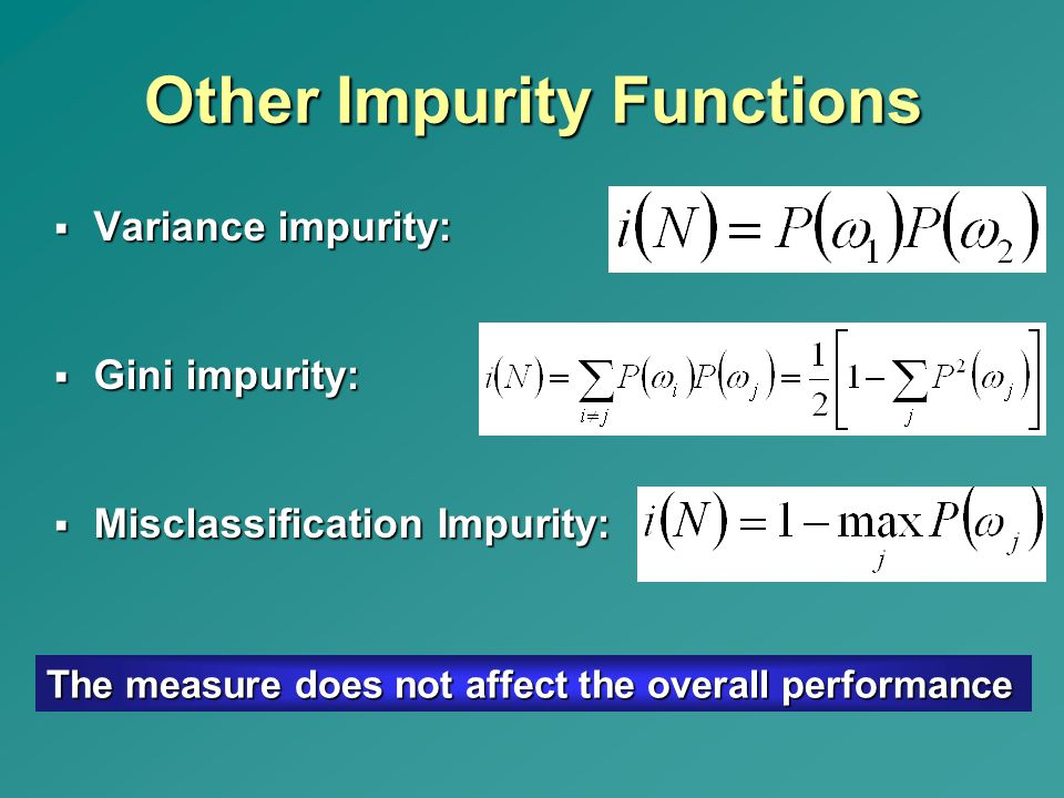 Other Impurity Functions