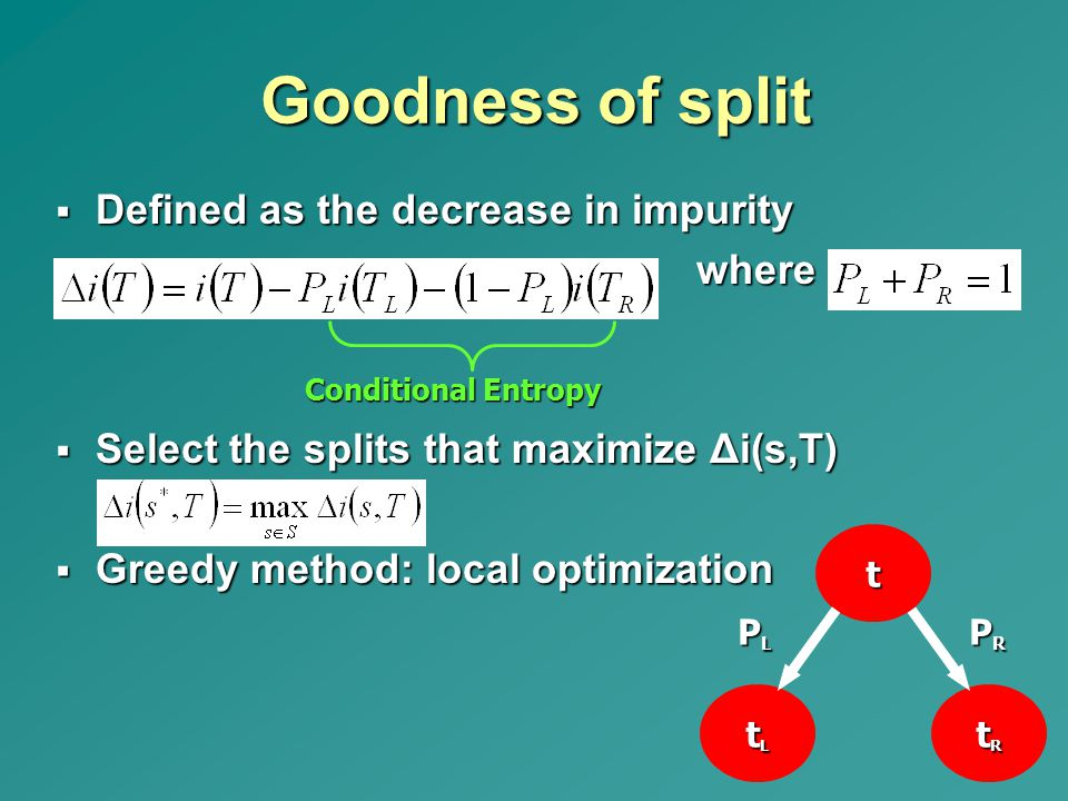 Goodness of split Defined as the decrease in impurity