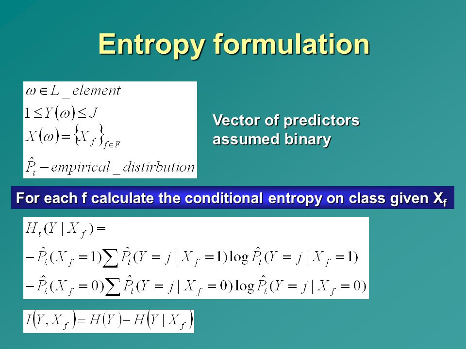 Entropy formulation Vector of predictors assumed binary