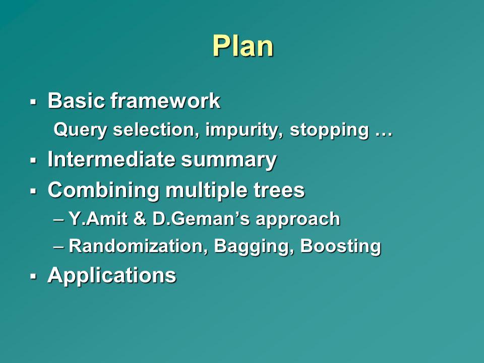 Plan Basic framework Intermediate summary Combining multiple trees