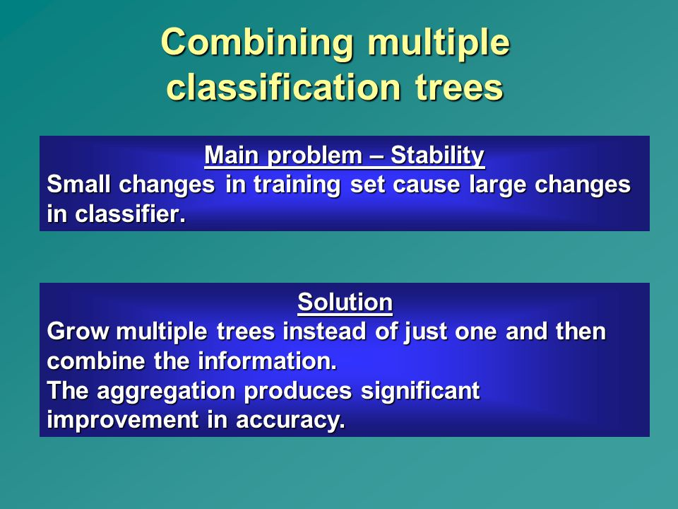 Combining multiple classification trees