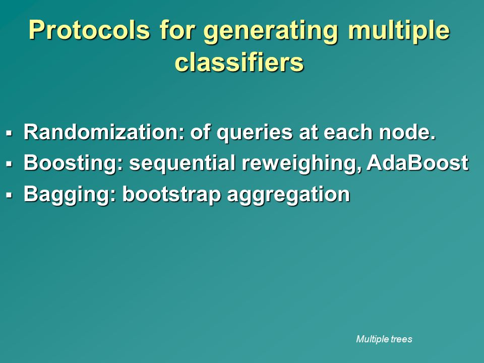 Protocols for generating multiple classifiers