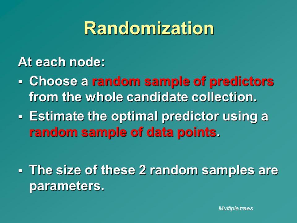 Randomization At each node: