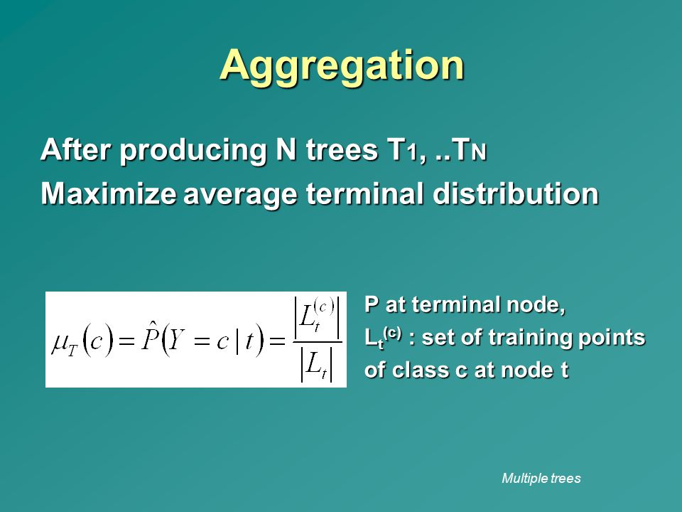 Aggregation After producing N trees T1, ..TN