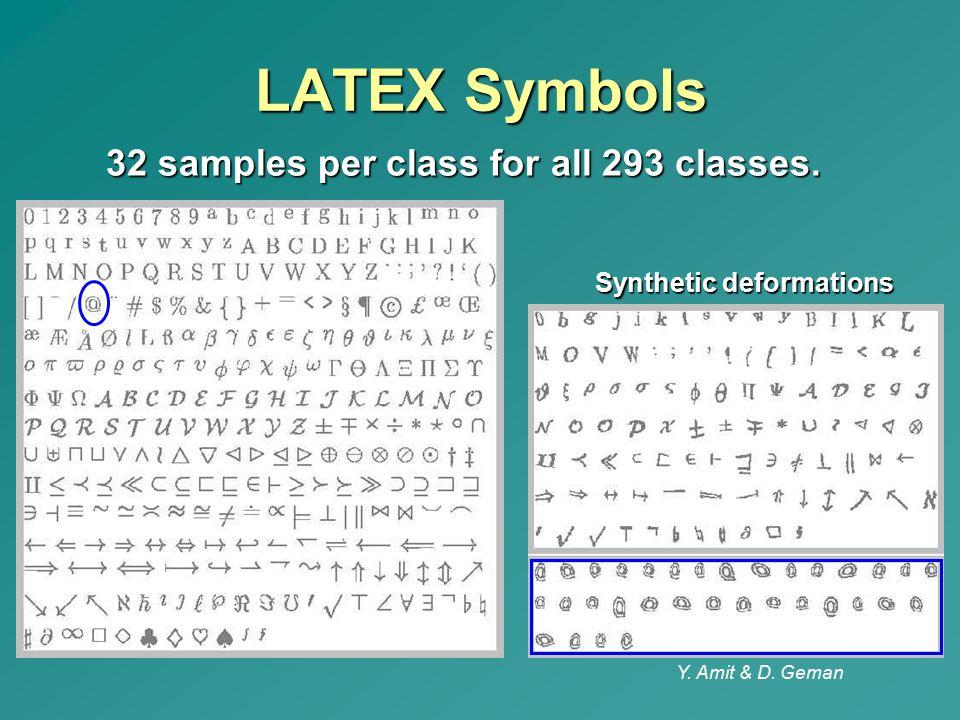 LATEX Symbols 32 samples per class for all 293 classes.