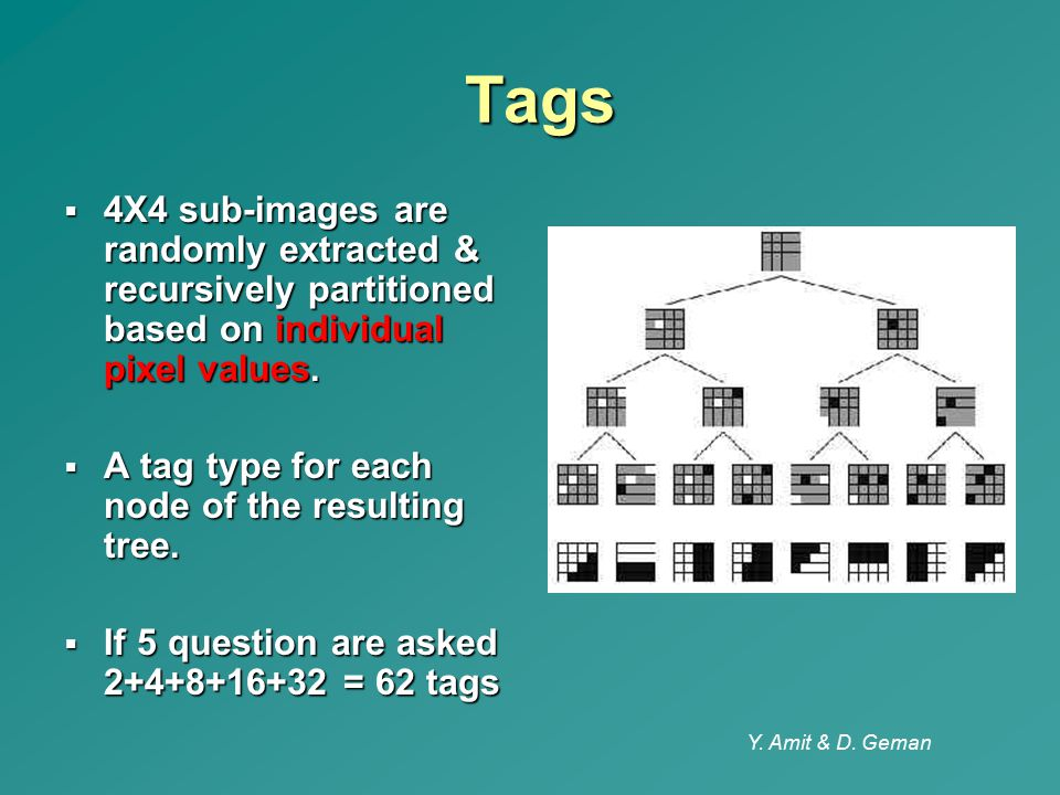 Tags 4X4 sub-images are randomly extracted & recursively partitioned based on individual pixel values.
