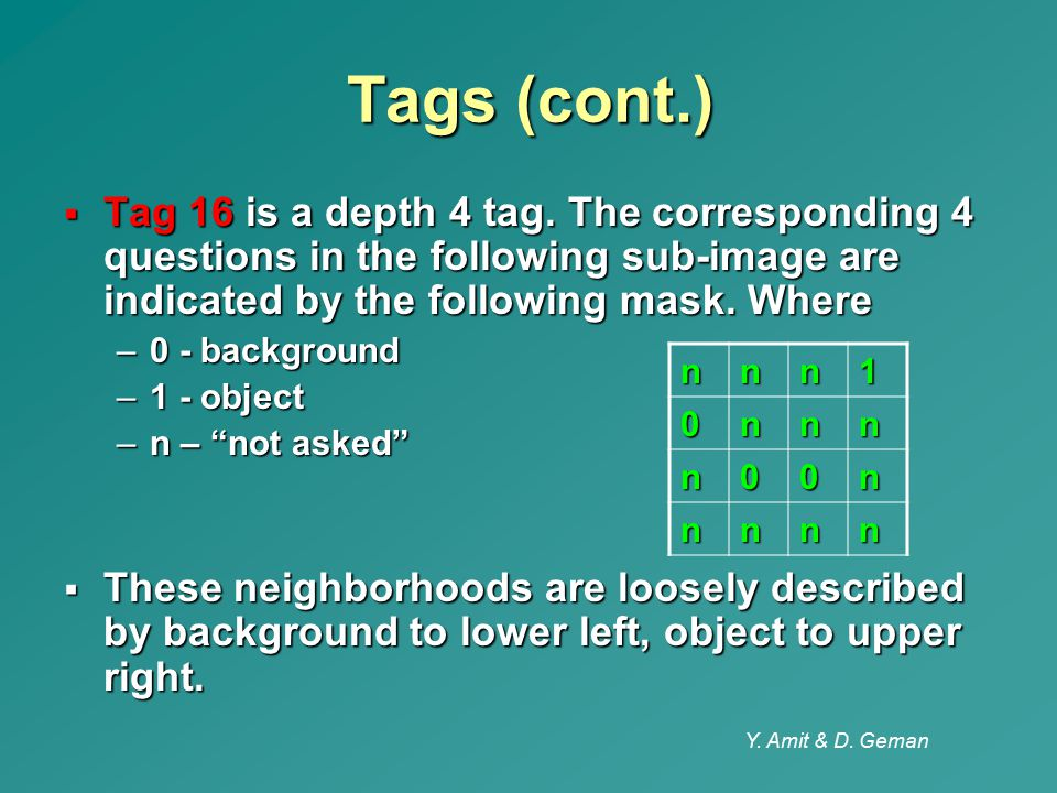 Tags (cont.) Tag 16 is a depth 4 tag. The corresponding 4 questions in the following sub-image are indicated by the following mask. Where.