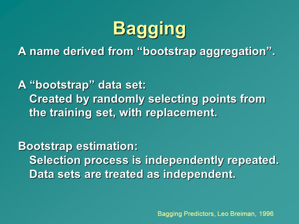 Bagging A name derived from bootstrap aggregation .