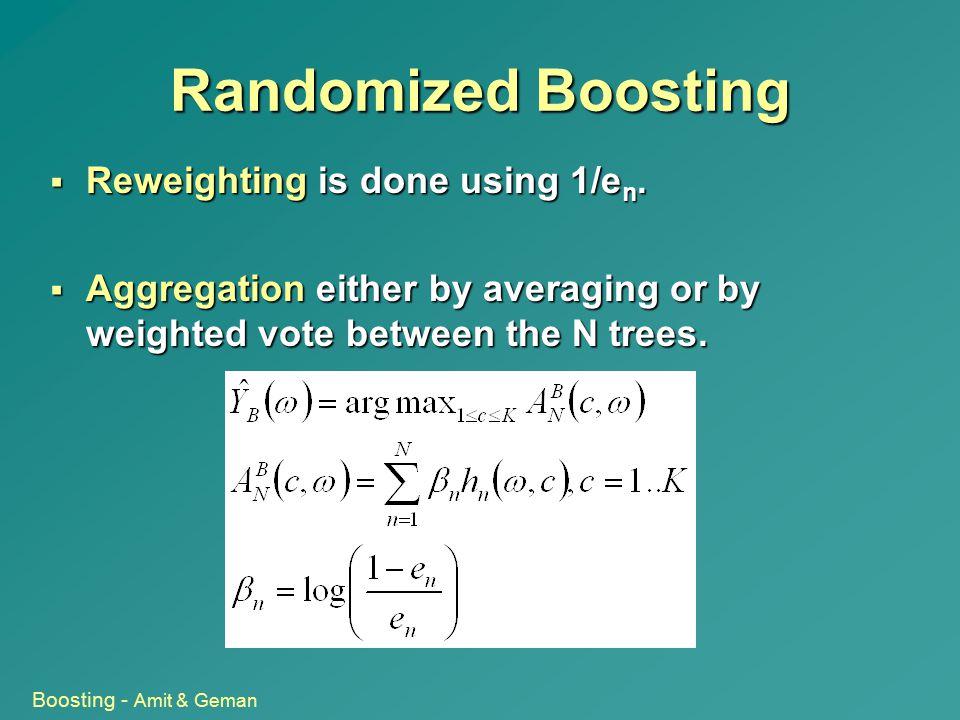 Randomized Boosting Reweighting is done using 1/en.
