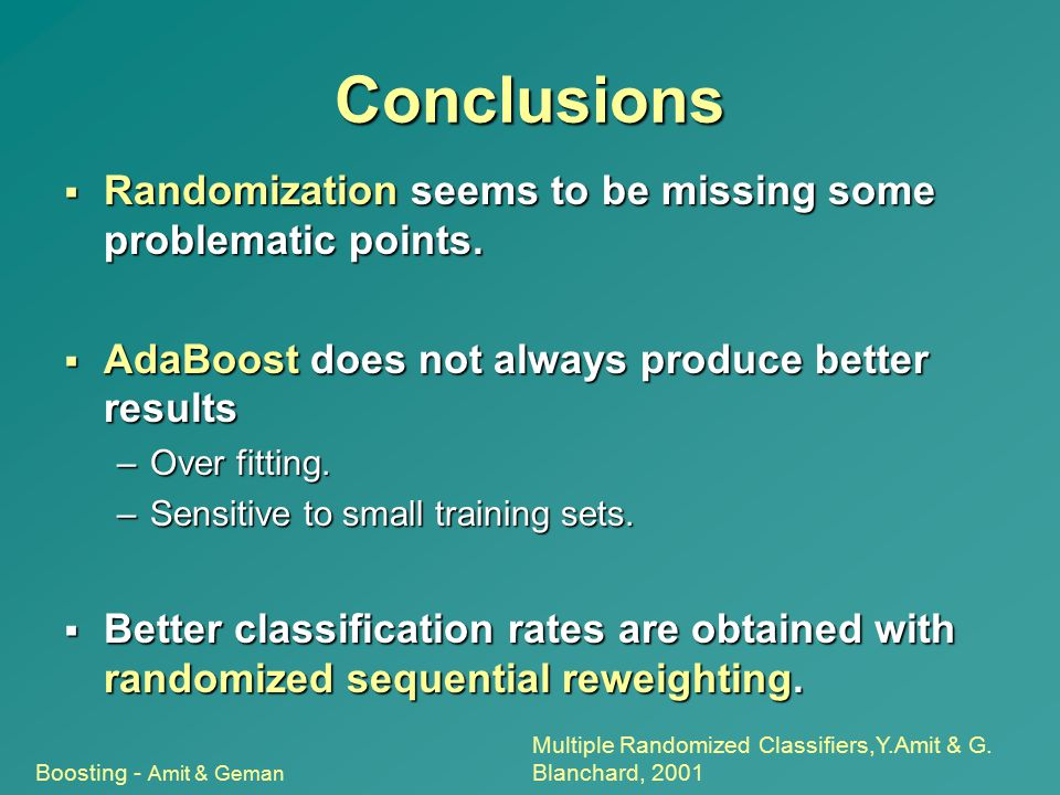 Conclusions Randomization seems to be missing some problematic points.