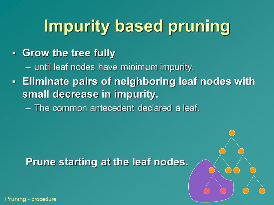 Impurity based pruning