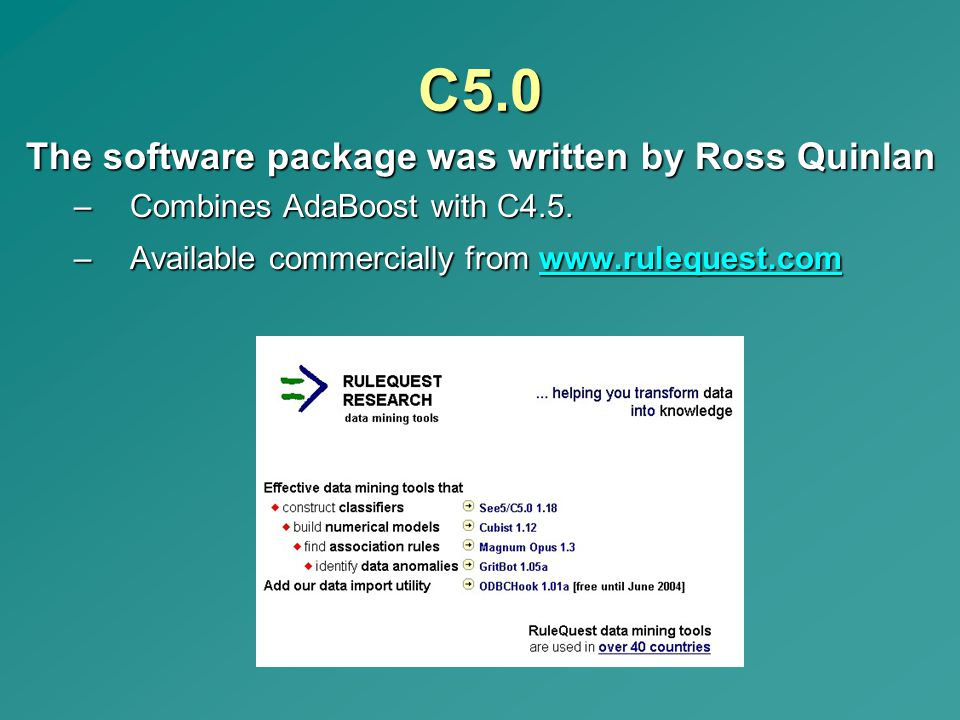 C5.0 The software package was written by Ross Quinlan
