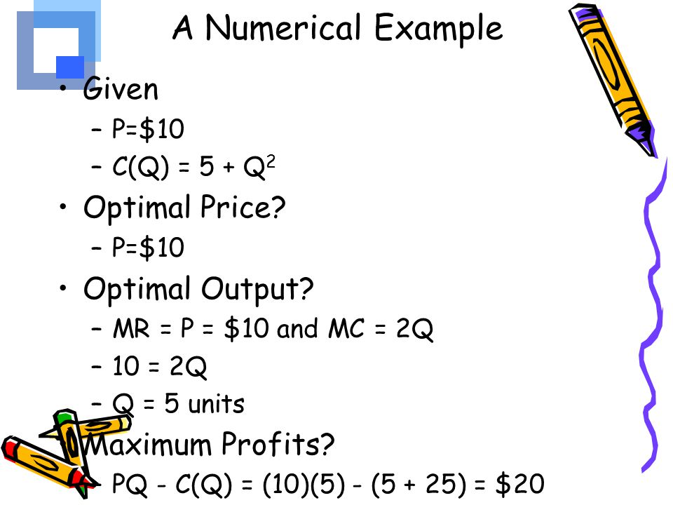 A Numerical Example Given Optimal Price Optimal Output
