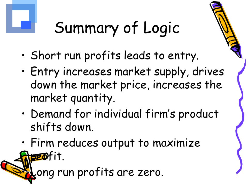 Summary of Logic Short run profits leads to entry.