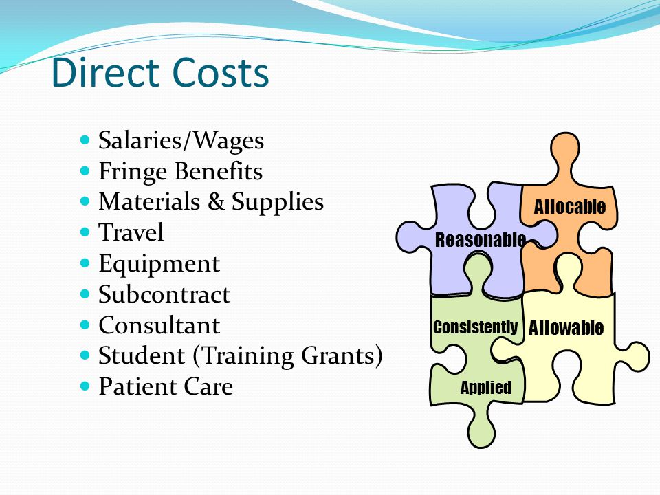 Direct Costs Salaries/Wages Fringe Benefits Materials & Supplies