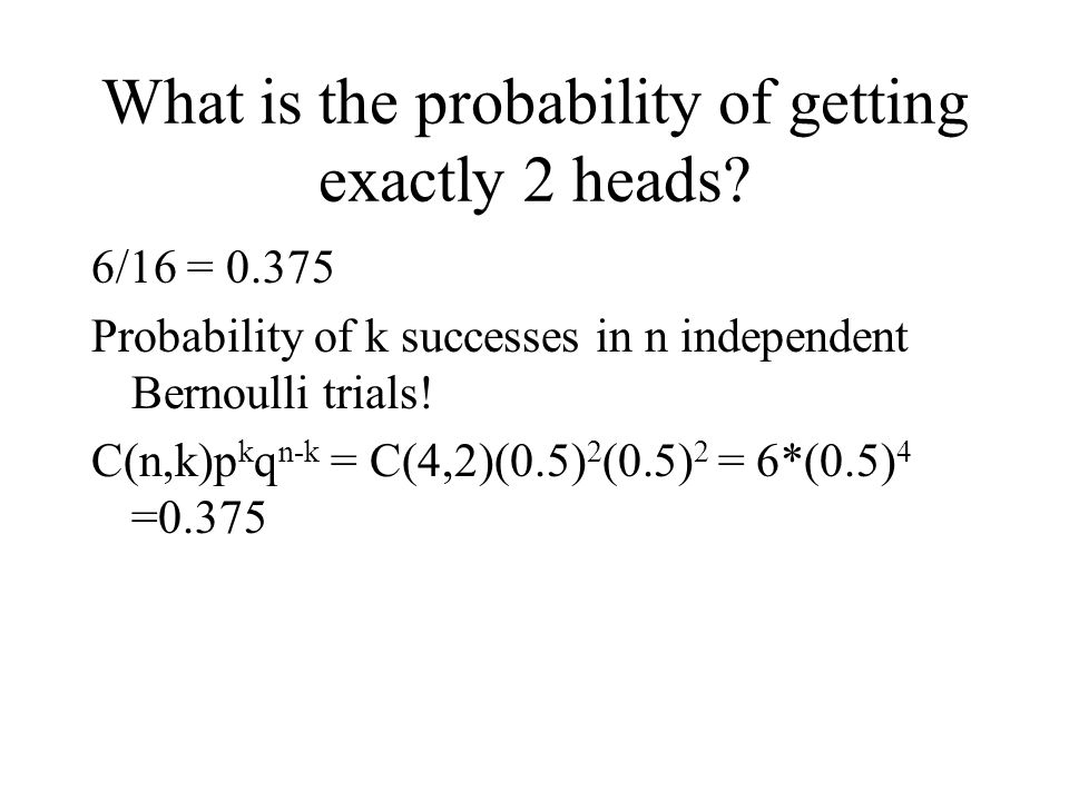 What is the probability of getting exactly 2 heads