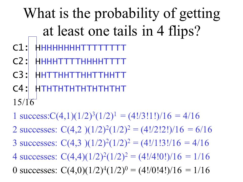 What is the probability of getting at least one tails in 4 flips