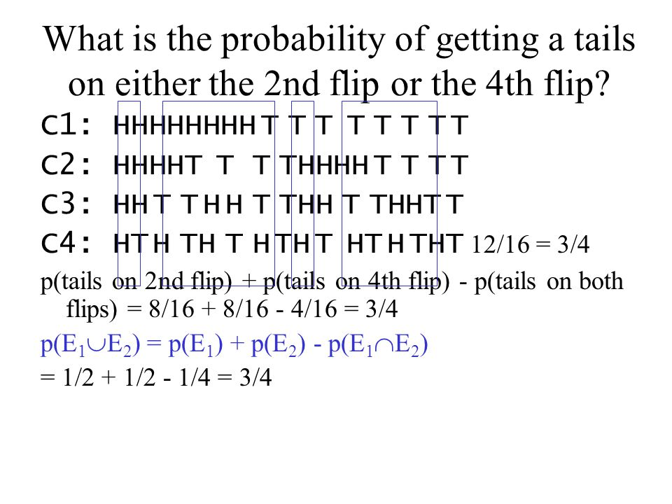 What is the probability of getting a tails on either the 2nd flip or the 4th flip