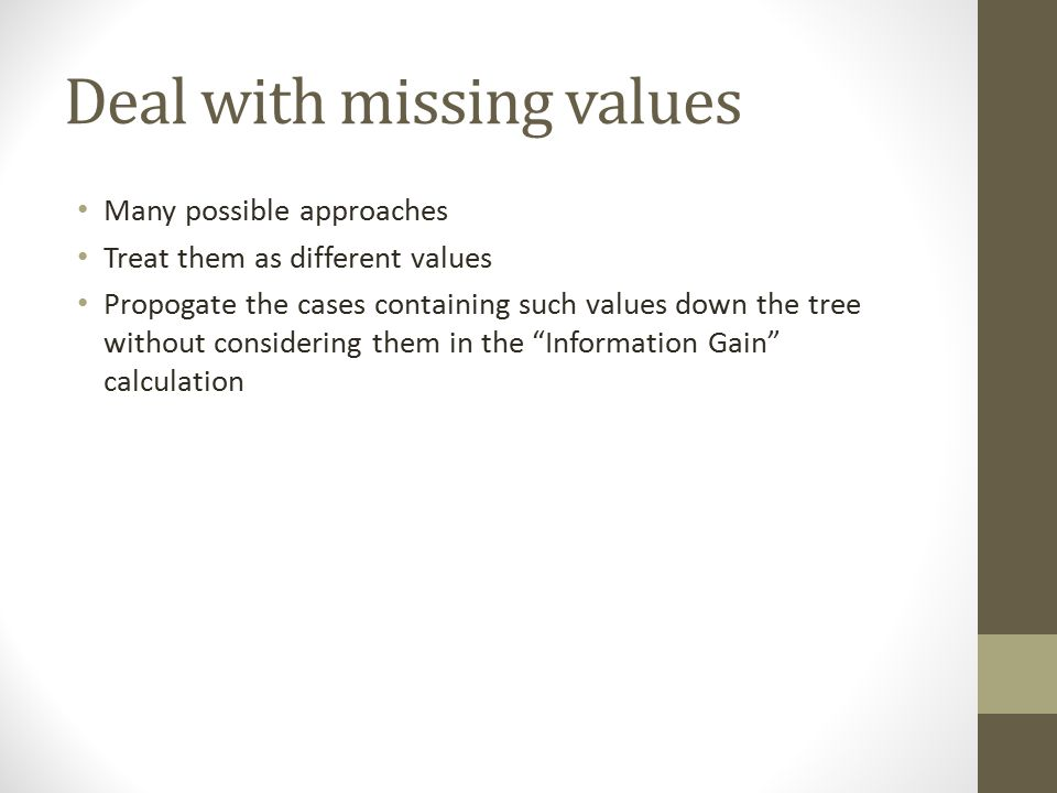 Deal with missing values