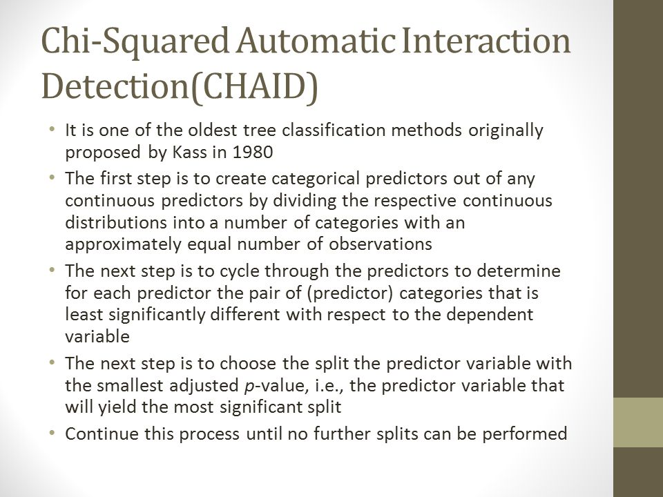 Chi-Squared Automatic Interaction Detection(CHAID)