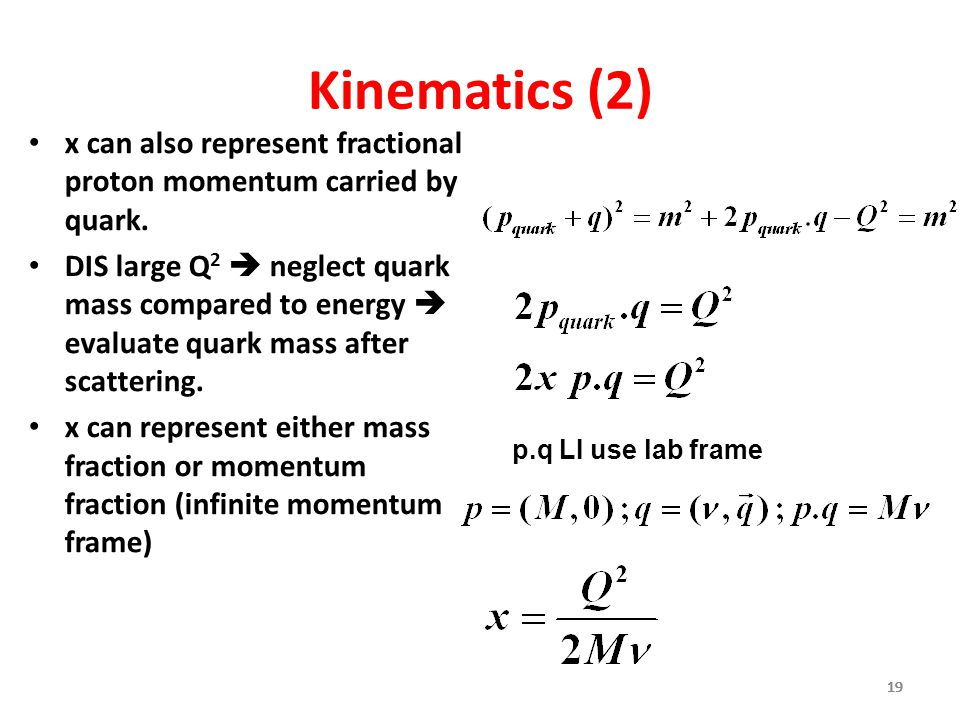 Kinematics (2) x can also represent fractional proton momentum carried by quark.