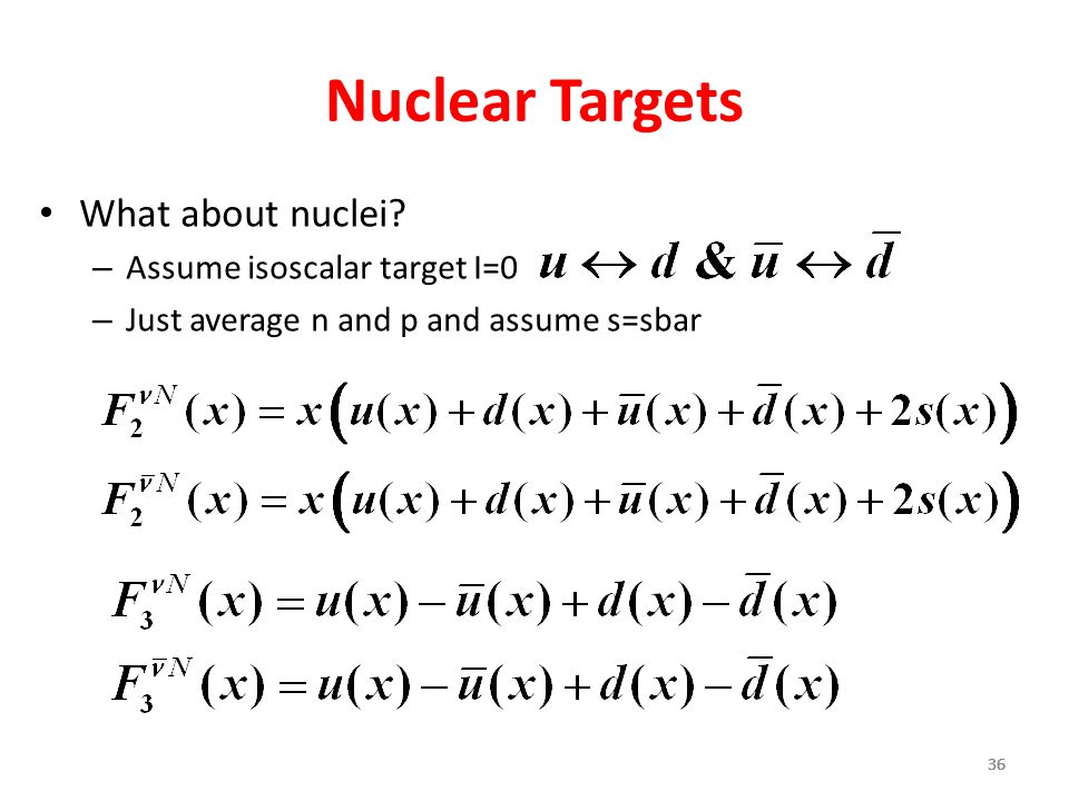 Nuclear Targets What about nuclei Assume isoscalar target I=0