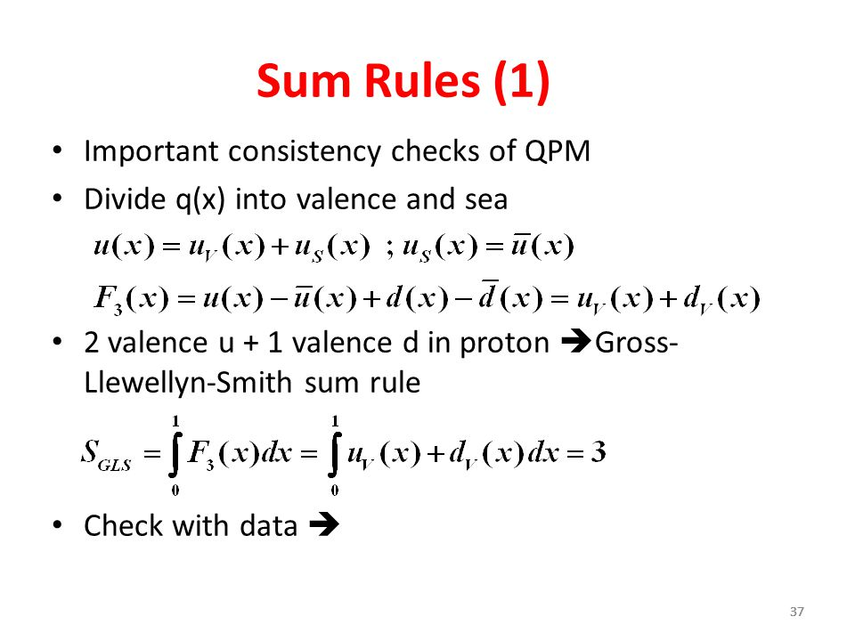 Sum Rules (1) Important consistency checks of QPM