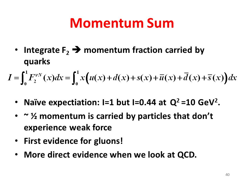 Momentum Sum Integrate F2  momentum fraction carried by quarks