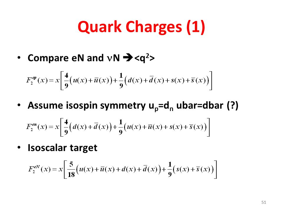 Quark Charges (1) Compare eN and nN <q2>