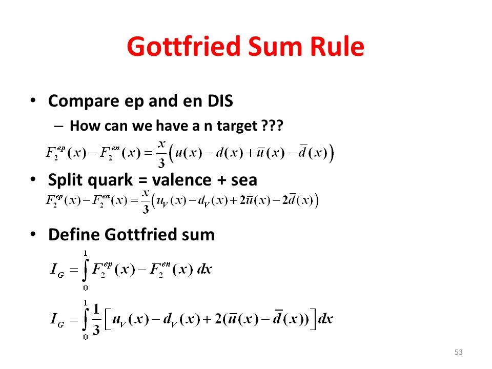 Gottfried Sum Rule Compare ep and en DIS Split quark = valence + sea