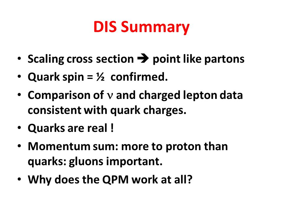 DIS Summary Scaling cross section  point like partons