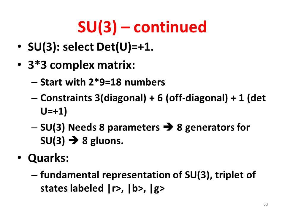 SU(3) – continued SU(3): select Det(U)=+1. 3*3 complex matrix: Quarks: