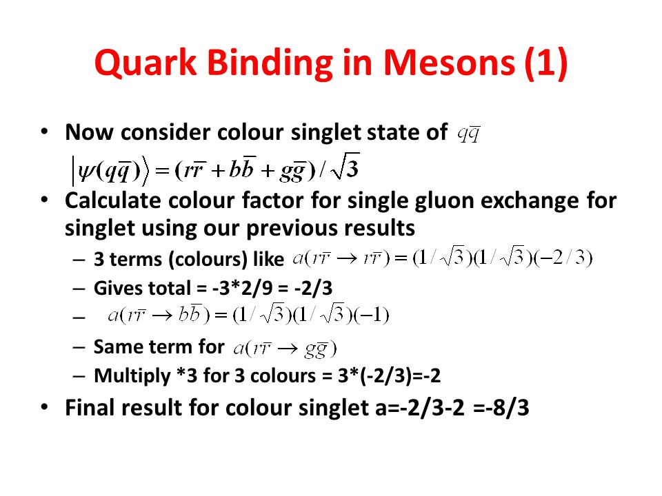 Quark Binding in Mesons (1)