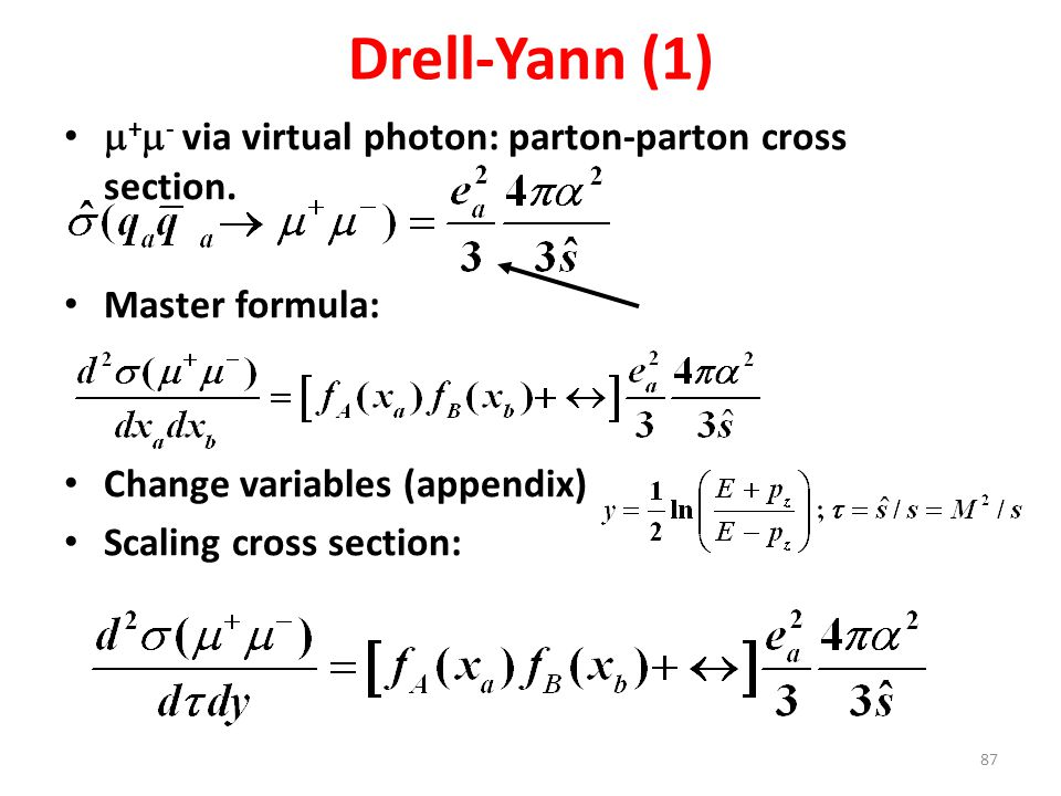Drell-Yann (1) m+m- via virtual photon: parton-parton cross section.