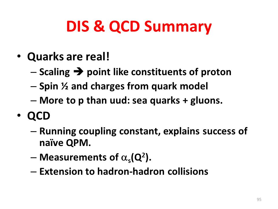 DIS & QCD Summary Quarks are real! QCD