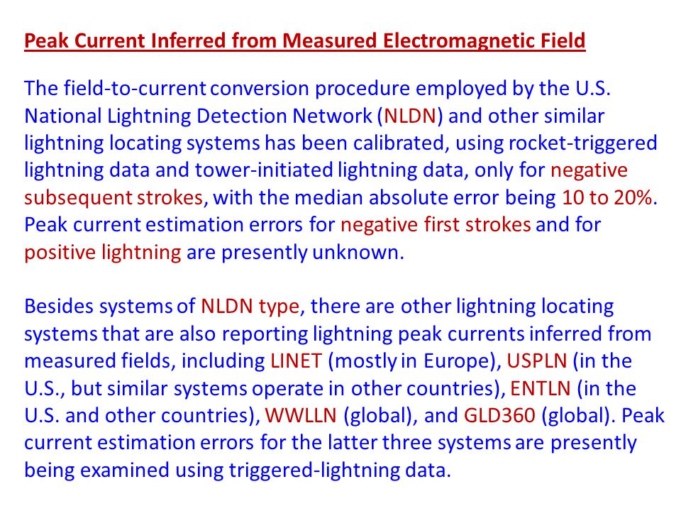 Peak Current Inferred from Measured Electromagnetic Field