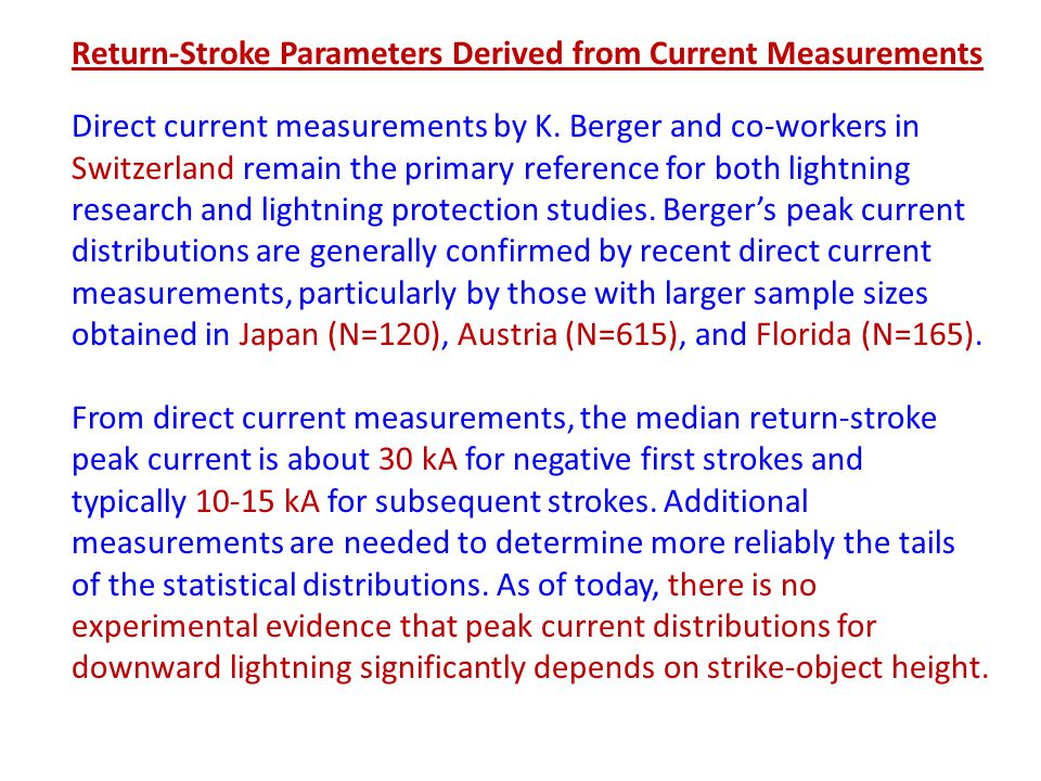 Return-Stroke Parameters Derived from Current Measurements