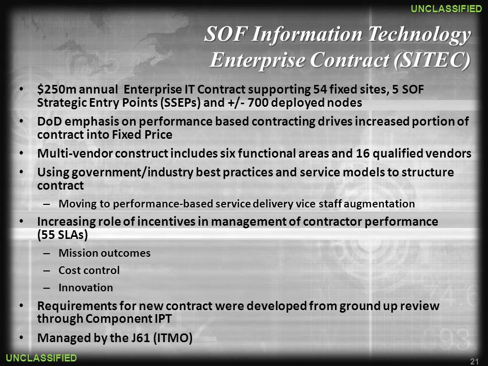 SOF Information Technology Enterprise Contract (SITEC)