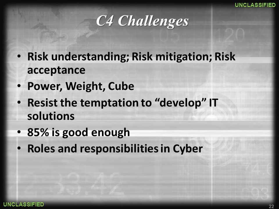 C4 Challenges Risk understanding; Risk mitigation; Risk acceptance