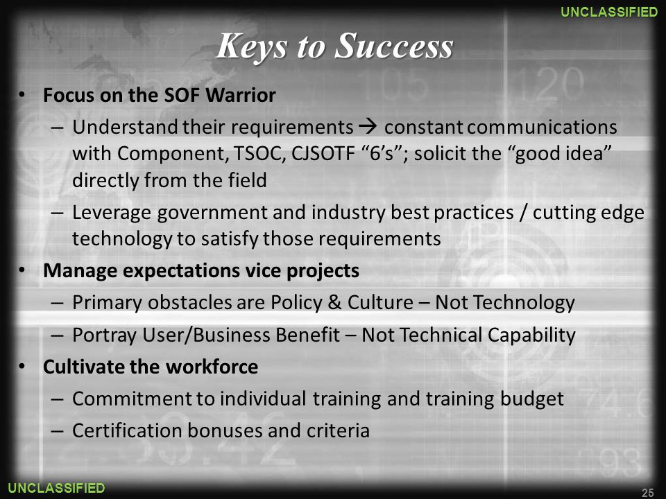 Keys to Success Focus on the SOF Warrior