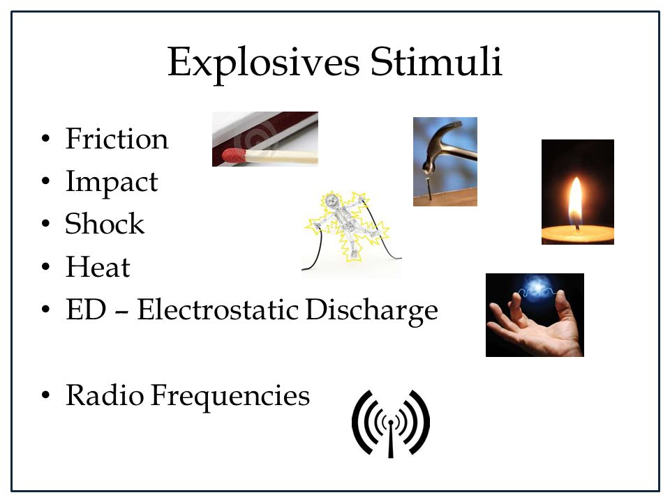 Explosives Stimuli Friction Impact Shock Heat