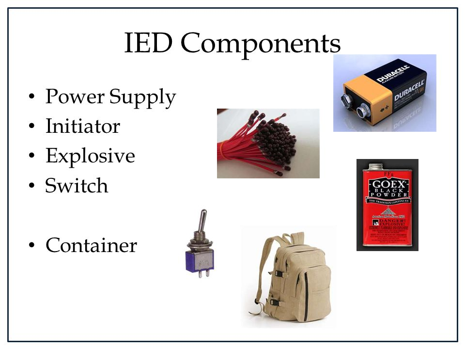 IED Components Power Supply Initiator Explosive Switch Container