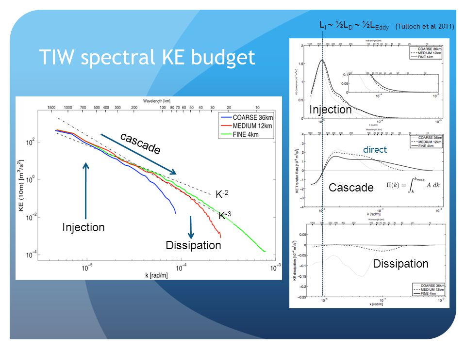 TIW spectral KE budget Injection cascade Cascade Injection Dissipation