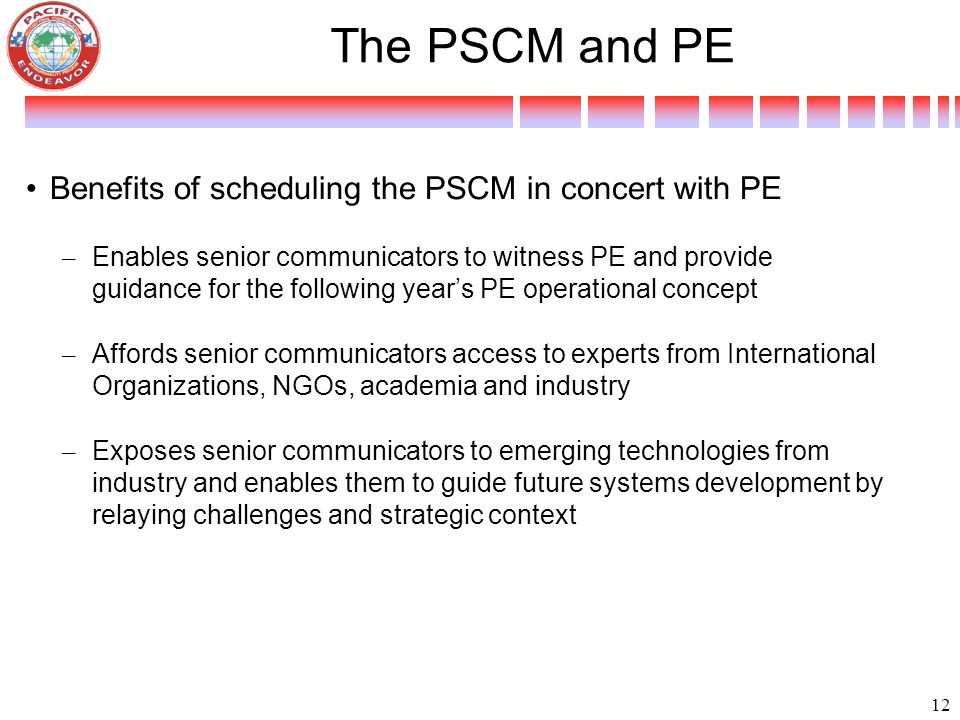 The PSCM and PE Benefits of scheduling the PSCM in concert with PE