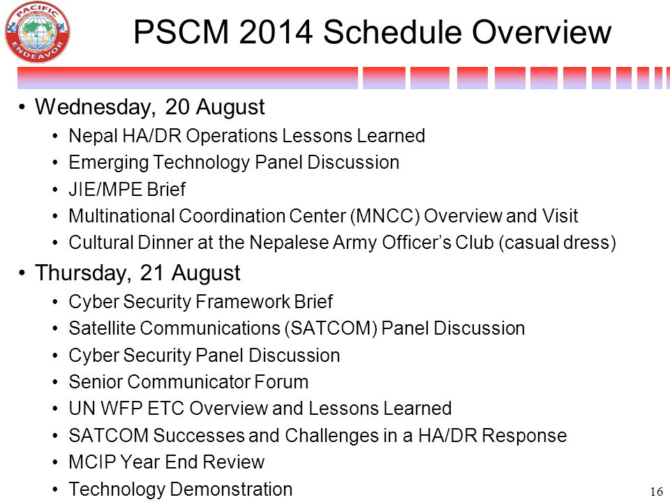 PSCM 2014 Schedule Overview