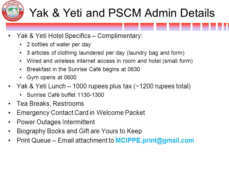Yak & Yeti and PSCM Admin Details