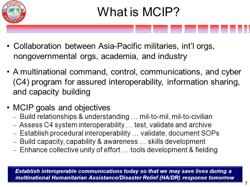 What is MCIP 4/11/2017. Collaboration between Asia-Pacific militaries, int'l orgs, nongovernmental orgs, academia, and industry.