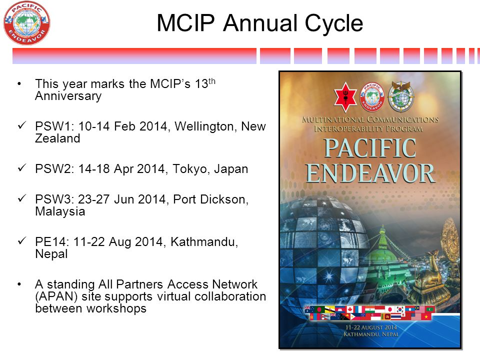 MCIP Annual Cycle This year marks the MCIP's 13th Anniversary